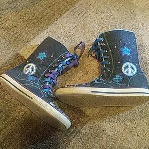 Girls Sparkle Laceup High Sneakers